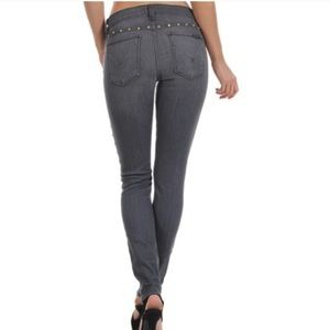 Hudson super skinny Nico mid rise jeans with studs